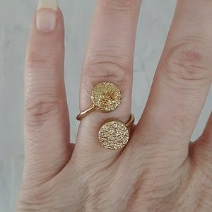 New Gold Plated Adjustable Double Sugar Druzy Ring
